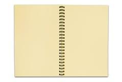 Réutilisez le cahier de papier ouvrent deux pages d'isolement Photographie stock