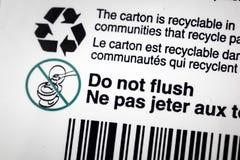 Réutilisez le flux recyclable de label de conteneur de carton photographie stock