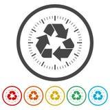 Réutilisez le symbole d'eco, réutilisez le signe, 6 couleurs incluses illustration libre de droits