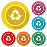 Réutilisez le symbole d'eco, réutilisez le signe, icône de couleur avec la longue ombre Photographie stock libre de droits