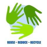 Réutilisez le symbole en tant que mains vertes Photo stock