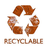 Réutilisez le symbole s'est rouillé réutilisation en métal Photo stock