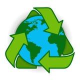 Réutilisez le vert Logo Web Icon de symbole de globe de la terre Photos stock