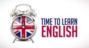 Réveil avec le drapeau britannique sur le visage d'horloge apprenant le concept illustration stock