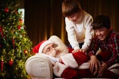 Réveil de Santa photographie stock
