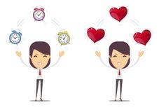 Réveil et un coeur rouge à la femme dans des mains Illustration de vecteur Images libres de droits