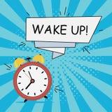 Réveil - réveillez-vous Illustration de bandes dessinées dans le style d'art de bruit au fond de rayon de soleil avec la bannière illustration libre de droits