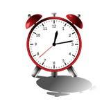 Réveil rouge avec l'ombre Illustration de vecteur Heures noires Images libres de droits