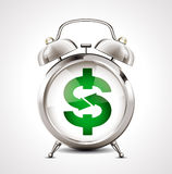 Réveil - symbole d'affaires - symbole dollar Images stock