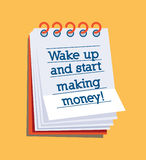 Réveillez et commencez à gagner l'argent ! Images stock