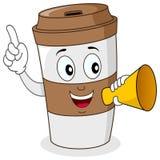 Réveillez la tasse de café et le mégaphone de papier Images stock