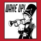 Réveillez-vous ! Illustration tirée par la main de vecteur de fille avec la trompette illustration de vecteur