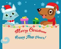 Réveillon de Noël Bande dessinée heureuse Cat And Dog Friendship With Santa Hat Vector Fond d'hiver de vacances d'illustration de Photos libres de droits