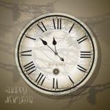 Réveillon de Noël et nouvelle année à minuit Style de vintage d'horloge, Photo libre de droits