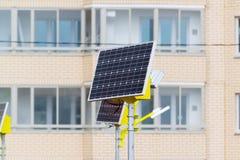 Réverbère actionné par les batteries solaires Photos libres de droits