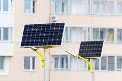 Réverbère actionné par les batteries solaires Image libre de droits