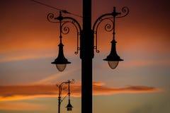 Réverbère au coucher du soleil photographie stock