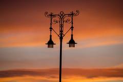 Réverbère au coucher du soleil photos libres de droits
