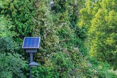 Réverbère avec la batterie solaire en parc photographie stock libre de droits