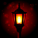 Réverbère - lanterne sur le poteau Photographie stock