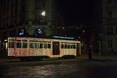 Réverbère lumineux historique pour Noël saint dans le c Photographie stock libre de droits