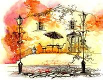 Réverbères d'automne illustration stock