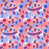 Réverbères de célébration de jour de bastille et modèle sans couture de drapeaux dans des couleurs patriotiques illustration libre de droits