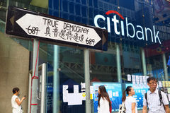Révolution de parapluie dans Mong Kok Photographie stock