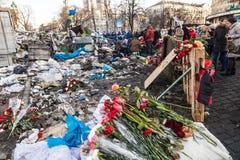 Révolution ukrainienne, Euromaidan après une attaque par le gouvernement f Images stock