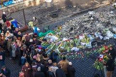 Révolution ukrainienne, Euromaidan après une attaque par le gouvernement f Photos stock