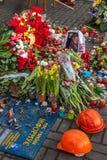 Révolution ukrainienne, Euromaidan après une attaque par le gouvernement f Image stock