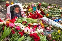 Révolution ukrainienne, Euromaidan après une attaque par le gouvernement f Photographie stock