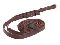 Rêne en caoutchouc de Brown - une partie de frein de cheval d'isolement sur le blanc Image stock