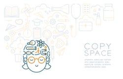 Rêve avec l'icône de sommeil de fille d'enfant et d'équipement de la science, imagination de la future profession