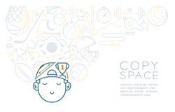 Rêve avec l'icône de sommeil de garçon d'enfant et d'équipement de sport, imagination de la future profession illustration libre de droits