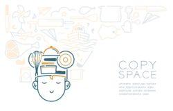 Rêve avec les ustensiles de sommeil icône, imagination de garçon et de cuisine d'enfant de la future profession illustration de vecteur