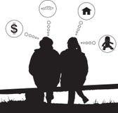 Rêve d'amour de couples de silhouette au sujet d'avenir Photos stock
