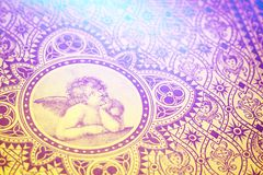Rêve d'ange d'amour de vintage Graphique de vieux livre Image libre de droits