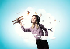 Rêver à être pilote Media mélangé Photo stock