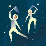 Rêver de l'espace L'illustration futuriste avec des cosmonautes attrapent des étoiles dans l'espace Le concept graphique aux rêve illustration de vecteur