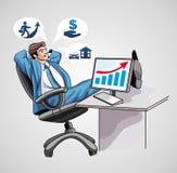 Rêver l'homme d'affaires à l'ordinateur image stock