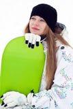Rêver la fille de curseur de snowboard Image libre de droits