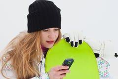 Rêver la fille de curseur de snowboard Photos libres de droits