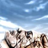 Rêver le visage sous le ciel bleu Images stock