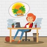 Rêves d'employé de bureau des vacances image stock