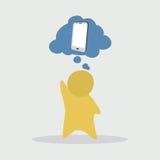 Rêves d'homme au sujet du téléphone Photo stock