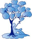 Rêves de fille sous l'illustration d'arbre Photo stock