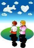 Rêves de garçon et de fille Photo libre de droits
