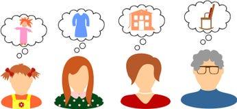 Rêves et désirs des femmes illustration libre de droits