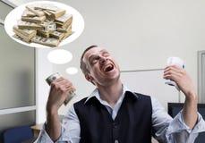 Rêves gais d'homme d'affaires au sujet d'argent images libres de droits